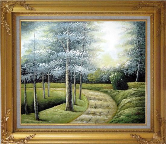 Framed Woodland Walk Oil Painting Landscape Tree Naturalism Gold Wood Frame with Deco Corners 27 x 31 Inches