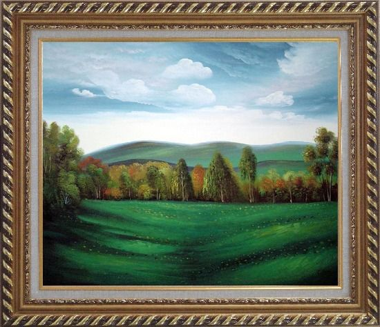 Framed Summer Green Field Oil Painting Landscape Naturalism Exquisite Gold Wood Frame 26 x 30 Inches