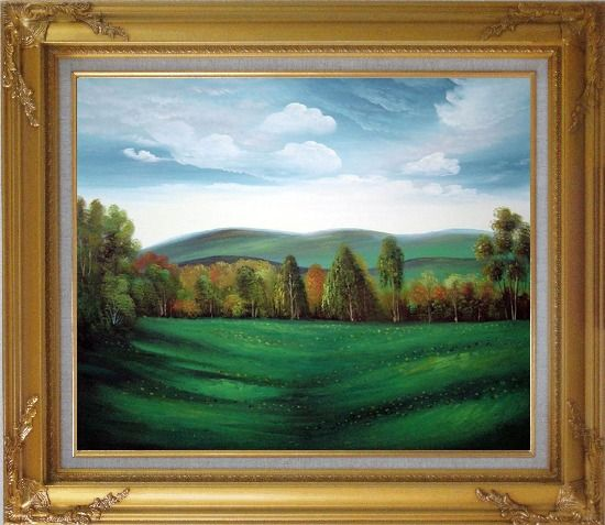 Framed Summer Green Field Oil Painting Landscape Naturalism Gold Wood Frame with Deco Corners 27 x 31 Inches