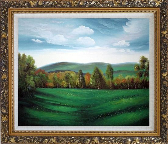 Framed Summer Green Field Oil Painting Landscape Naturalism Ornate Antique Dark Gold Wood Frame 26 x 30 Inches