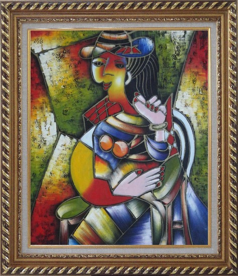 Framed A Sitting Lady, Picasso Oil Painting Portraits Woman Modern Cubism Exquisite Gold Wood Frame 30 x 26 Inches