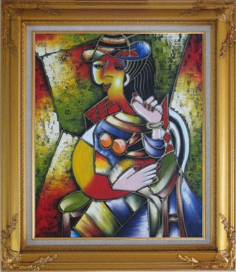 Framed A Sitting Lady, Picasso Oil Painting Portraits Woman Modern Cubism Gold Wood Frame with Deco Corners 31 x 27 Inches