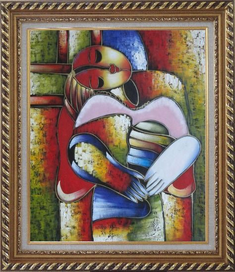 Framed Le Reve Revision, Picasso Oil Painting Portraits Woman Modern Cubism Exquisite Gold Wood Frame 30 x 26 Inches