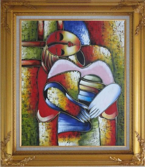 Framed Le Reve Revision, Picasso Oil Painting Portraits Woman Modern Cubism Gold Wood Frame with Deco Corners 31 x 27 Inches