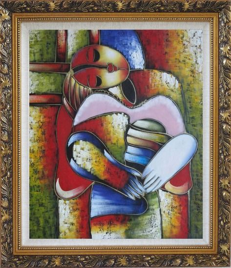 Framed Le Reve Revision, Picasso Oil Painting Portraits Woman Modern Cubism Ornate Antique Dark Gold Wood Frame 30 x 26 Inches