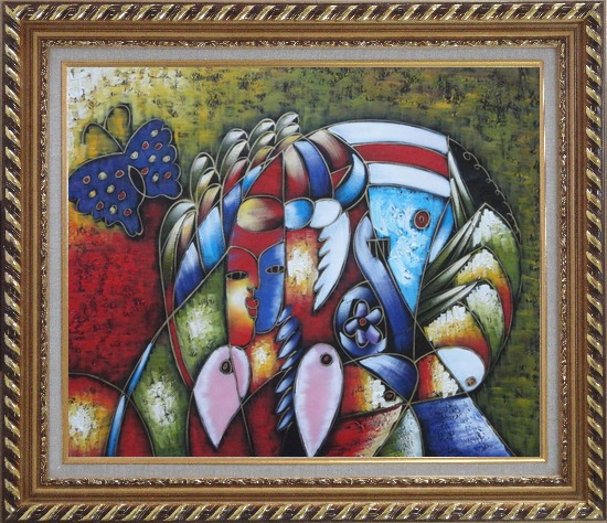 Framed Cubism Composition of Women face, Butterfly and Fish Head, Picasso Oil Painting Portraits Modern Exquisite Gold Wood Frame 26 x 30 Inches
