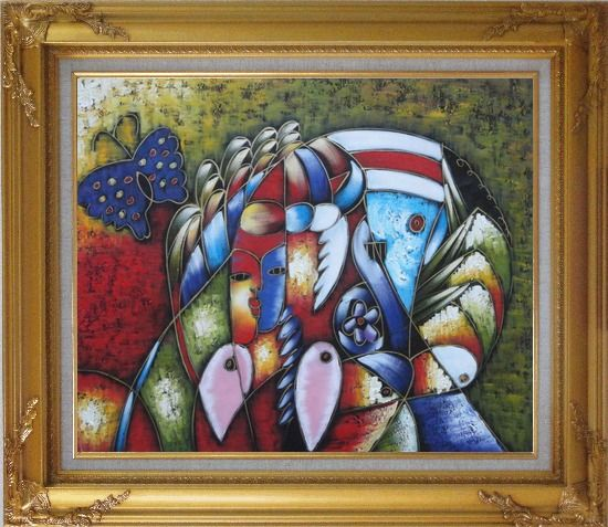 Framed Cubism Composition of Women face, Butterfly and Fish Head, Picasso Oil Painting Portraits Modern Gold Wood Frame with Deco Corners 27 x 31 Inches