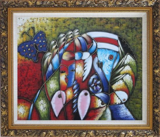 Framed Cubism Composition of Women face, Butterfly and Fish Head, Picasso Oil Painting Portraits Modern Ornate Antique Dark Gold Wood Frame 26 x 30 Inches