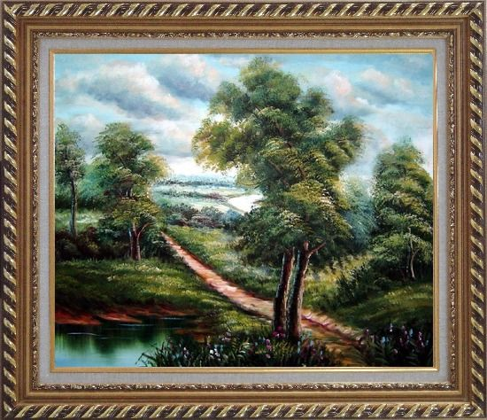 Framed Off for a Stroll Oil Painting Landscape River Classic Exquisite Gold Wood Frame 26 x 30 Inches