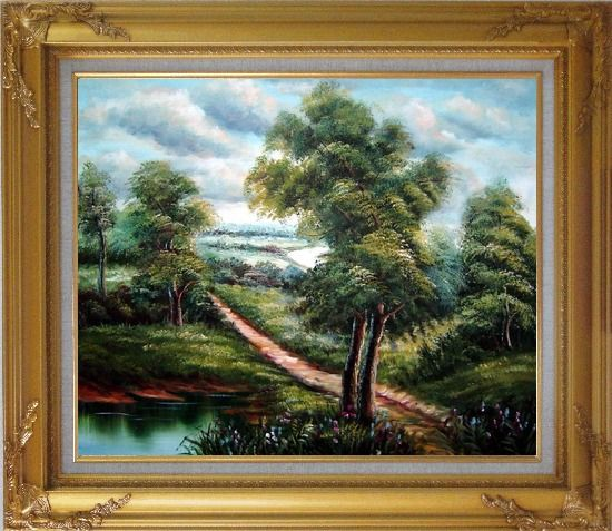 Framed Off for a Stroll Oil Painting Landscape River Classic Gold Wood Frame with Deco Corners 27 x 31 Inches