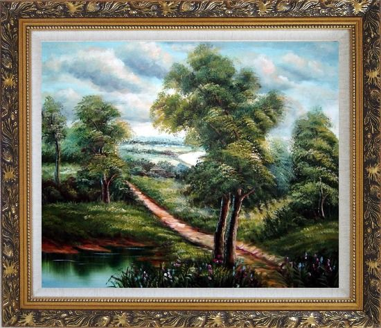 Framed Off for a Stroll Oil Painting Landscape River Classic Ornate Antique Dark Gold Wood Frame 26 x 30 Inches