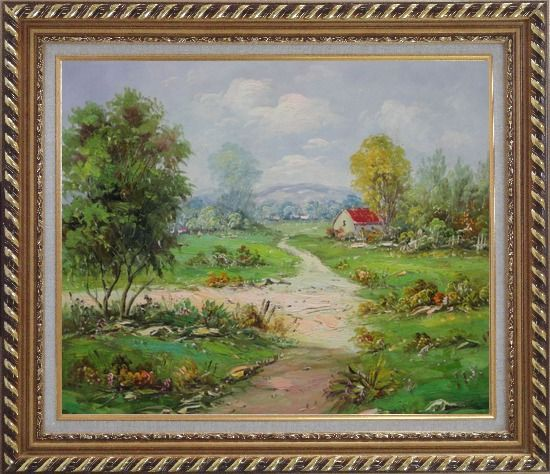 Framed Countryside Footpath in Rural Village Oil Painting Naturalism Exquisite Gold Wood Frame 26 x 30 Inches