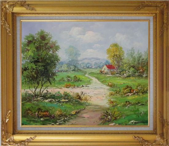 Framed Countryside Footpath in Rural Village Oil Painting Naturalism Gold Wood Frame with Deco Corners 27 x 31 Inches