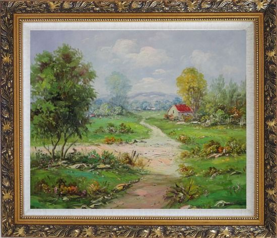 Framed Countryside Footpath in Rural Village Oil Painting Naturalism Ornate Antique Dark Gold Wood Frame 26 x 30 Inches