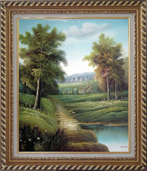 Framed Tranquility Path Oil Painting Landscape River Classic Exquisite Gold Wood Frame 30 x 26 Inches