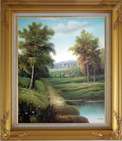 Framed Tranquility Path Oil Painting Landscape River Classic Gold Wood Frame with Deco Corners 31 x 27 Inches