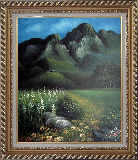 Framed Spring Song Oil Painting Landscape Mountain Naturalism Exquisite Gold Wood Frame 30 x 26 Inches