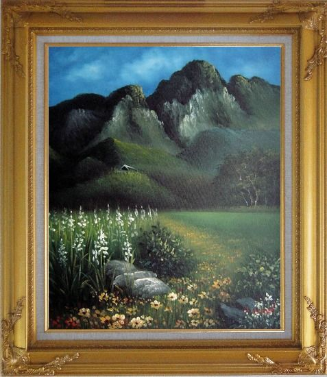 Framed Spring Song Oil Painting Landscape Mountain Naturalism Gold Wood Frame with Deco Corners 31 x 27 Inches