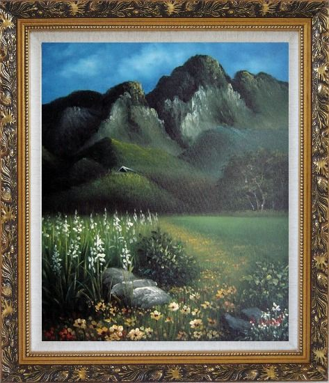 Framed Spring Song Oil Painting Landscape Mountain Naturalism Ornate Antique Dark Gold Wood Frame 30 x 26 Inches