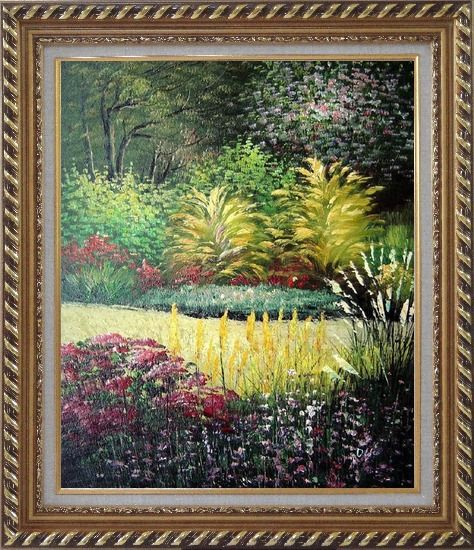 Framed Midsummer Day's Garden Oil Painting Naturalism Exquisite Gold Wood Frame 30 x 26 Inches