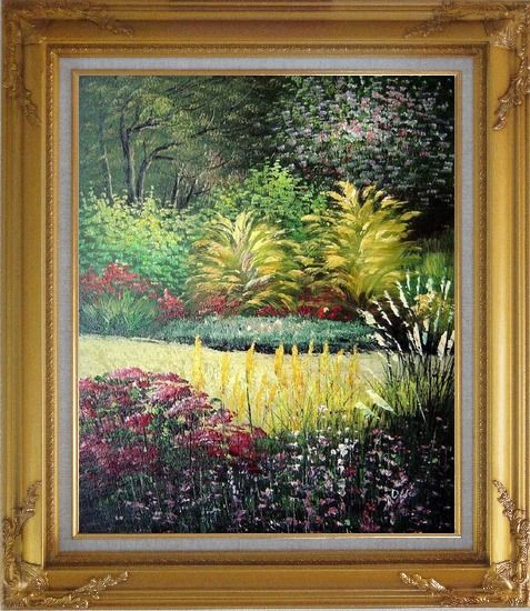 Framed Midsummer Day's Garden Oil Painting Naturalism Gold Wood Frame with Deco Corners 31 x 27 Inches