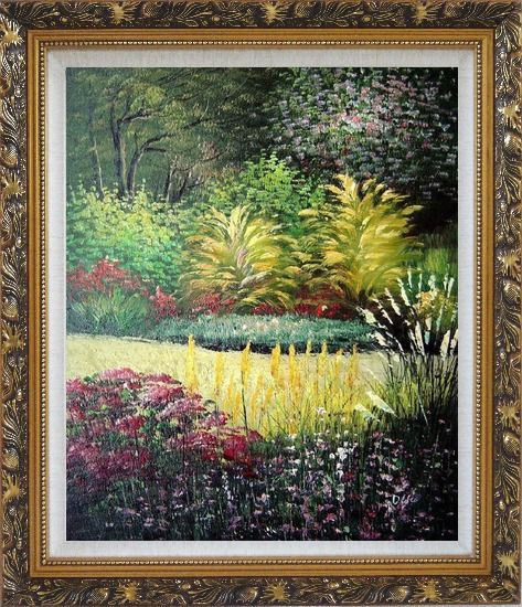 Framed Midsummer Day's Garden Oil Painting Naturalism Ornate Antique Dark Gold Wood Frame 30 x 26 Inches