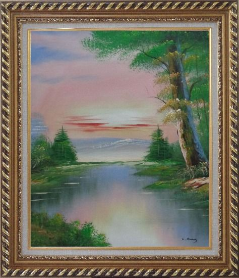 Framed Calm Lake at the Crack of Dawn within Forest Oil Painting Landscape River Naturalism Exquisite Gold Wood Frame 30 x 26 Inches