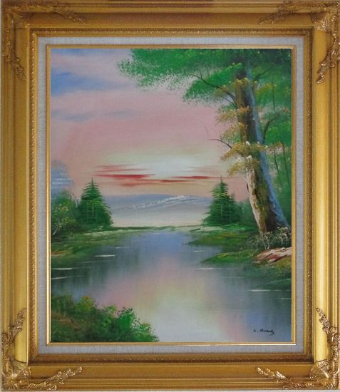 Framed Calm Lake at the Crack of Dawn within Forest Oil Painting Landscape River Naturalism Gold Wood Frame with Deco Corners 31 x 27 Inches