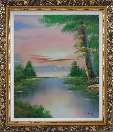 Framed Calm Lake at the Crack of Dawn within Forest Oil Painting Landscape River Naturalism Ornate Antique Dark Gold Wood Frame 30 x 26 Inches