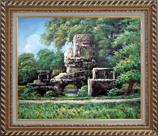Framed Garden Stone Memory Oil Painting Naturalism Exquisite Gold Wood Frame 26 x 30 Inches