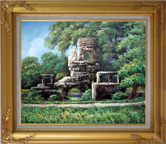 Framed Garden Stone Memory Oil Painting Naturalism Gold Wood Frame with Deco Corners 27 x 31 Inches