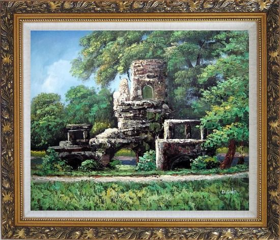 Framed Garden Stone Memory Oil Painting Naturalism Ornate Antique Dark Gold Wood Frame 26 x 30 Inches