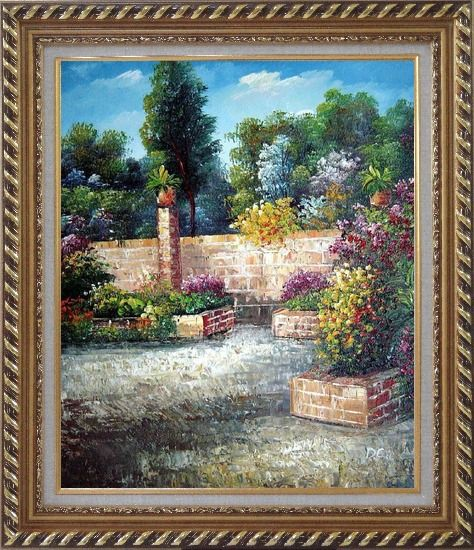 Framed Around the Garden Corner Oil Painting France Impressionism Exquisite Gold Wood Frame 30 x 26 Inches