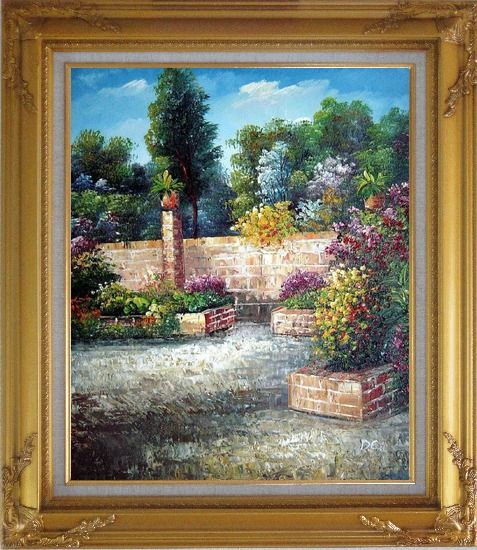 Framed Around the Garden Corner Oil Painting France Impressionism Gold Wood Frame with Deco Corners 31 x 27 Inches