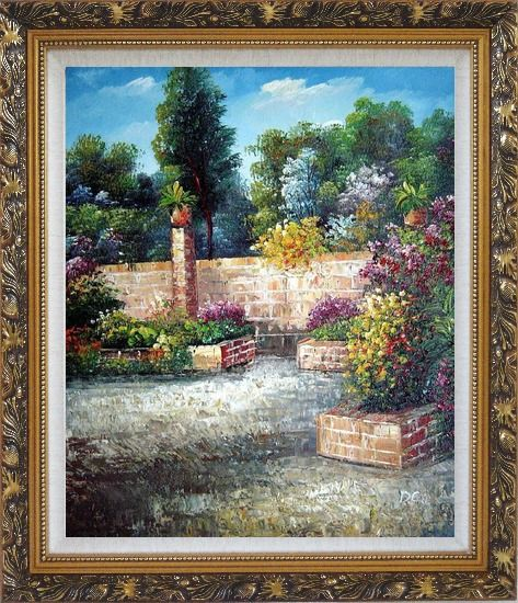 Framed Around the Garden Corner Oil Painting France Impressionism Ornate Antique Dark Gold Wood Frame 30 x 26 Inches