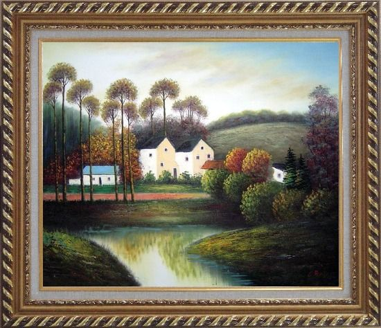Framed Houses, Creek, Road, Trees and Mountain Oil Painting Village Impressionism Exquisite Gold Wood Frame 26 x 30 Inches