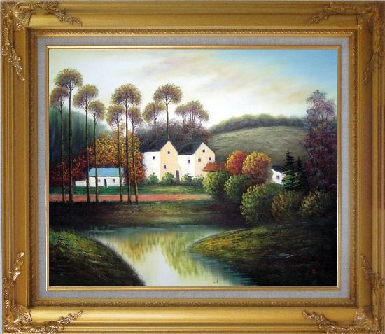 Framed Houses, Creek, Road, Trees and Mountain Oil Painting Village Impressionism Gold Wood Frame with Deco Corners 27 x 31 Inches