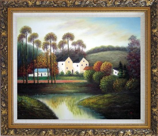Framed Houses, Creek, Road, Trees and Mountain Oil Painting Village Impressionism Ornate Antique Dark Gold Wood Frame 26 x 30 Inches