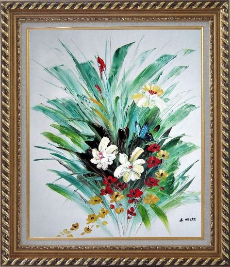 Framed Red, White, Yellow Flowers With Green Leaves Oil Painting Decorative Exquisite Gold Wood Frame 30 x 26 Inches