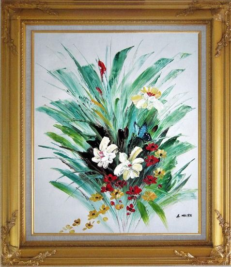 Framed Red, White, Yellow Flowers With Green Leaves Oil Painting Decorative Gold Wood Frame with Deco Corners 31 x 27 Inches