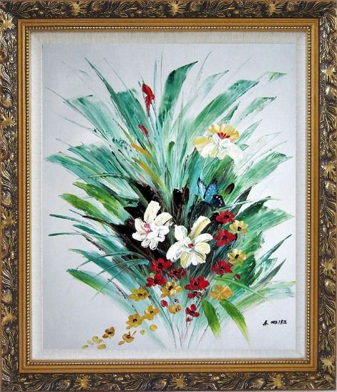 Framed Red, White, Yellow Flowers With Green Leaves Oil Painting Decorative Ornate Antique Dark Gold Wood Frame 30 x 26 Inches