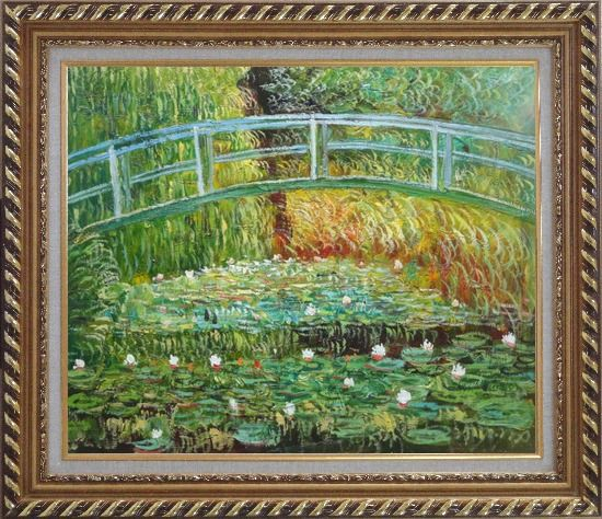 Framed Bridge Over a Pond of Water Lilies in Summer, Monet Oil Painting Landscape River France Impressionism Exquisite Gold Wood Frame 26 x 30 Inches