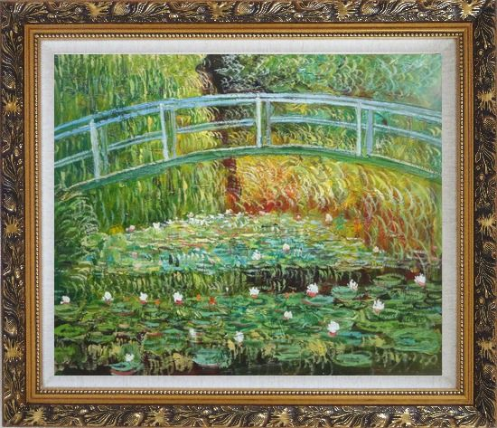 Framed Bridge Over a Pond of Water Lilies in Summer, Monet Oil Painting Landscape River France Impressionism Ornate Antique Dark Gold Wood Frame 26 x 30 Inches