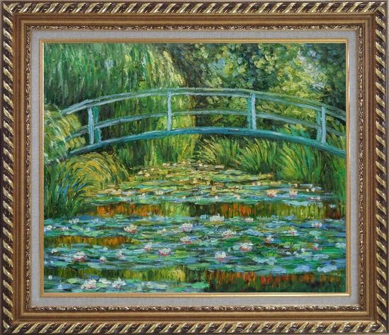 Framed Waterlilies and Japanese Bridge, Monet Oil Painting Landscape River France Impressionism Exquisite Gold Wood Frame 26 x 30 Inches