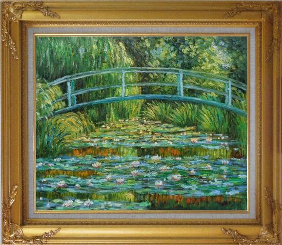 Framed Waterlilies and Japanese Bridge, Monet Oil Painting Landscape River France Impressionism Gold Wood Frame with Deco Corners 27 x 31 Inches