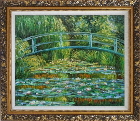 Framed Waterlilies and Japanese Bridge, Monet Oil Painting Landscape River France Impressionism Ornate Antique Dark Gold Wood Frame 26 x 30 Inches