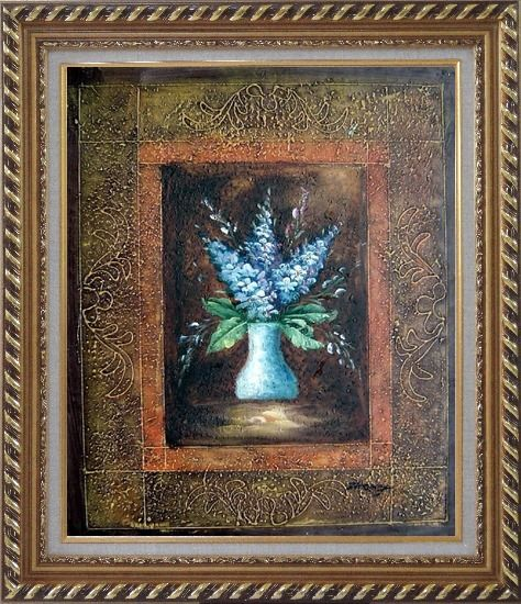 Framed Blue Delphinium Flowers in Vase on Brown Background Oil Painting Still Life Decorative Exquisite Gold Wood Frame 30 x 26 Inches