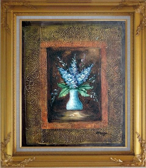 Framed Blue Delphinium Flowers in Vase on Brown Background Oil Painting Still Life Decorative Gold Wood Frame with Deco Corners 31 x 27 Inches