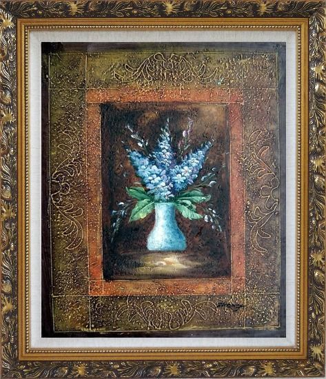 Framed Blue Delphinium Flowers in Vase on Brown Background Oil Painting Still Life Decorative Ornate Antique Dark Gold Wood Frame 30 x 26 Inches
