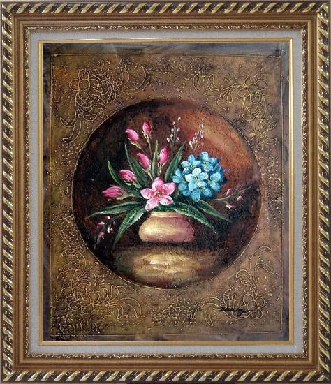 Framed Modern Pink and Blue Flowers Painting Oil Still Life Decorative Exquisite Gold Wood Frame 30 x 26 Inches